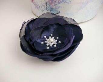Navy blue flower Hairpiece, Alligator hair clip, Bridal Hair Accessories, Dark blue flower hair accessory, Bridesmaids, flower girl flower