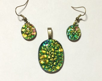Sparkling Gold and Green with hints of shimmering Blue, Pink, fused Dichroic Glass 12mm Dangle Earrings & matching Pendant set.