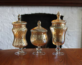 Vintage SET of 3 EMPOLI Murano Peach Optic Glass Apothecary Jars