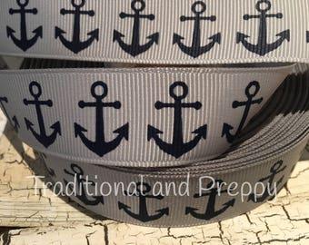 "3 Yards 7/8"" Nautical Navy Anchor Gray grey grosgrain ribbo"