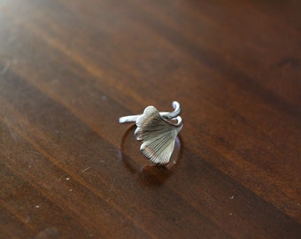 Sterling Silver Gingko Leaf Ring