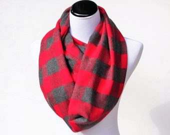 Plaid infinity scarf, Christmas scarf, soft and warm scarf, long and wide scarf, red gray plaids loop scarf, Christmas gift for women