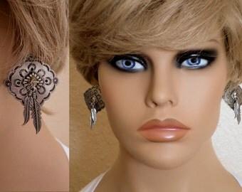 Stud Earrings, Southwest Concho w Feather Dangles, Vintage 1988 Jonette Jewelry, Boho, Southwestern Country Western Wear, ID 498149771