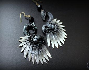 Elegant black dragon earrings from polymer clay