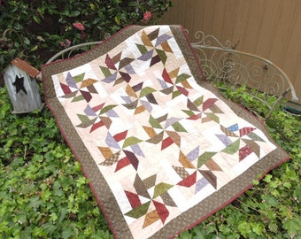 "Lap Sized Patchwork Quilt with Pinwheel Stars - Burgundy, Gold, Olive Green, Brown and Lavender    53"" x 41.5"""