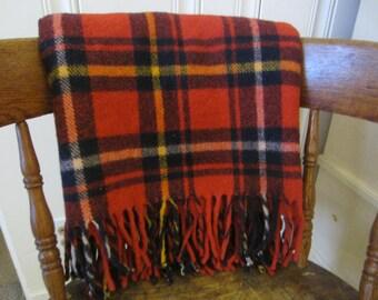 Vintage 100% Wool Fringed Tartan Plaid Blanket  Classic Red Wool Blanket  Red Blanket  Tailgate Blanket Faribo Blanket  Fluff Loomed Blanket