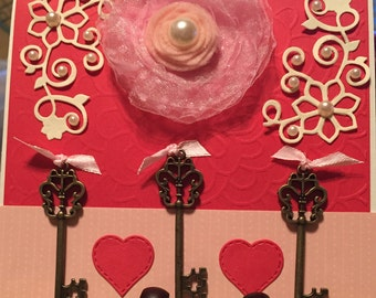 Pink Flower Card With Keys