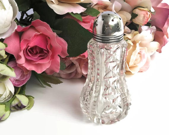 Antique 1909 cut crystal sugar shaker with sterling silver lid with star shaped holes, made in Sheffield, England, Edwardian
