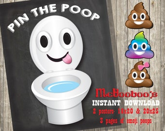 Pin The Poop On Toilet Poster With 3 Emojis INSTANT DOWNLOAD 2 Signs