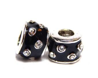 1 - Black Glider Beads, Black Slider Bead, European Beads, Black Beads, Slider Beads, Decorative Bead, Large Hole Beads, Black Beads, T-105E