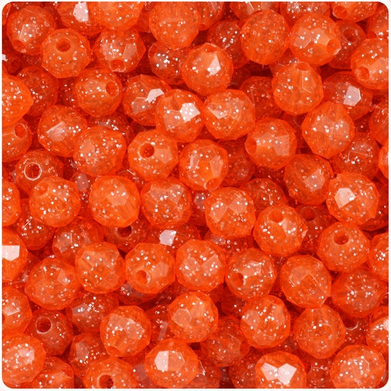 450 Hyacinth Orange Sparkle 8mm Faceted Round Plastic Craft Beads - Made in the USA