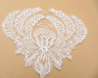 Ivory White LACE Applique ,Circle applique,Lace applique,Wedding dress applique