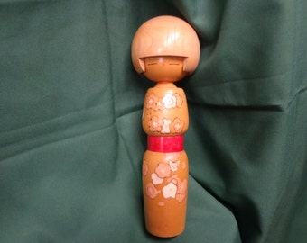 "10-1/2"""" Kokeshi Wooden Doll, Hand Made, Unsigned, Flowered Kimono"