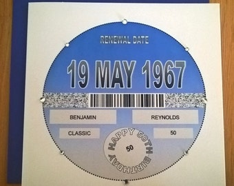 Handmade Personalised Birthday Card TAX DISC DESIGN Any Age