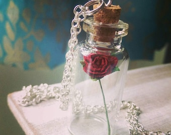 Beauty and the Beast Until the last Petal falls Enchanted Rose Bottle Necklace