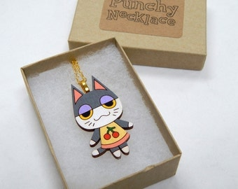 Animal Crossing Punchy Laser Cut Wood Necklace