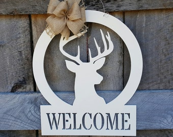 Hunting Door Hanger - Wooden Deer Sign - Buck Wall Hanging - Welcome - Wedding Gift - Housewarming Gift - Personalized Gift