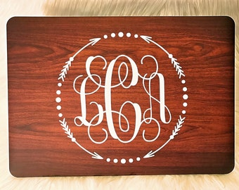 Wood MacBook Case with Monogram