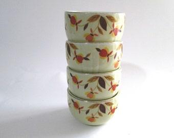 "Vintage Hall China 3 1/2"" Custard Bowl 7 Oz, Autumn Leaf Pattern, Hall's Superior Quality Kitchenware, Jewel Tea Company, Small Dessert Bowl"