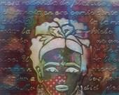 "Frida Kahlo multi-colored mini mixed media wall art on 6"" x 6"" canvas"