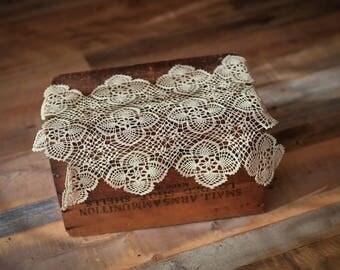 Vintage Crochet Lace Layer - Ecru - Photography Prop