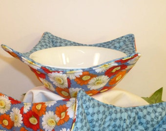 Bowl Cozy/Microwave Bowl Holders/Flowers/Pot Holders/Red/Blue/White