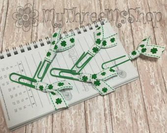 Ribbon Bookmarks, Irish, Shamrock Ribbon Paperclips, st patricks day, green clover, lucky, filofax, day planner, party favors, teacher gift
