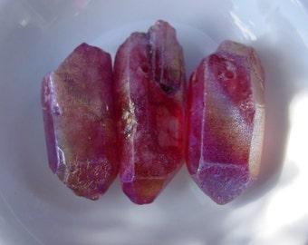 Titanium Plated Fuchsia  Quartz Stick Irregular Cut Beads BoHo Chic! - 3 Beads #7623