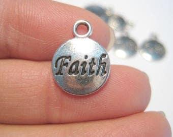 """10pcs Antique Silver Round Charms Pendants  Message Pattern """"Faith"""" 15x11mm"""