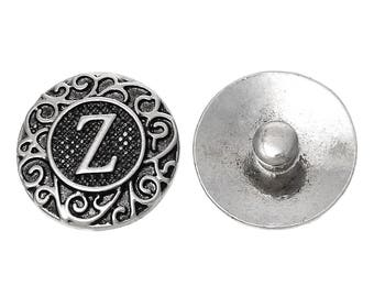 "1pc 19mm Antique Silver Alphabet /Letter ""Z"" Snap Button Charms Knob Size: 5.5mm( 2/8"")"