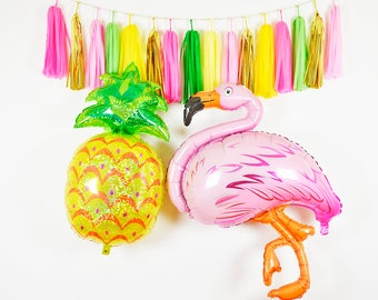 Flamingo and Pineapple Party Kit, Pineapple Balloon, Flamingo Balloon, Tropical Party Tassel Garland, Tropical Party Kit, Tropical Birthday