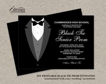 Black Tie Affair Prom Invitations   Formal DIY Printable Junior Senior Tuxedo Prom Invites   Black And White Themed Prom Night Invitation