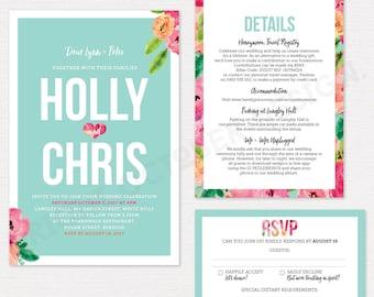 Pastel floral wedding invitation suite | digital download