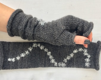 Knitted embroidered fingerless gloves, Fingerless knitted gloves mittens, Kintted arm Warmers, CHRISTMAS Gift for her, Grey