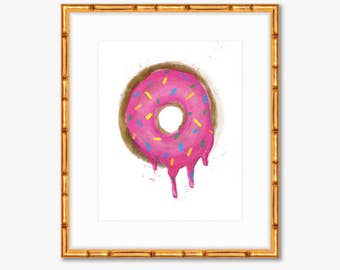 Donut Worry, Be Happy -- Watercolor Donut -- Home Decor -- Art Print