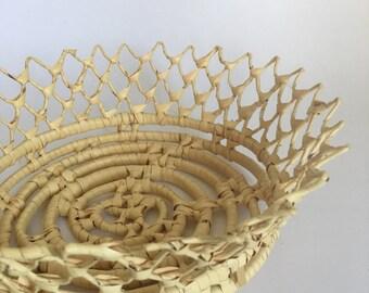 Crown Coil Weave Raffia Seagrass Basket
