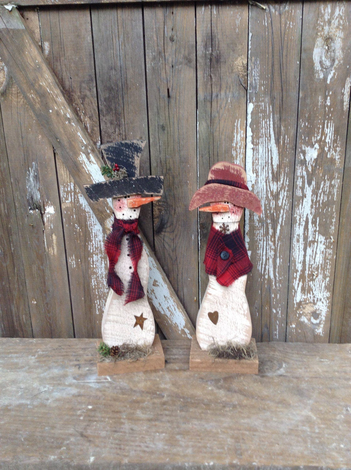 Primitive Snowman Country Primitive Wood Snowman By