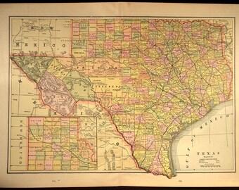 Texas Map Texas LARGE Antique Old Original 1800s 1887