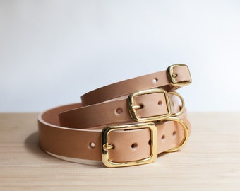 Personalized Vegetable Tanned Leather Dog Collar - Natural