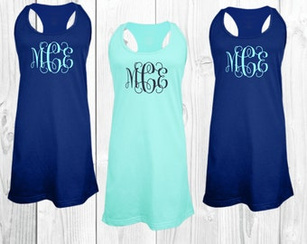 monogrammed dress, monogrammed cover up, swim suit cover up, monogrammed pajamas