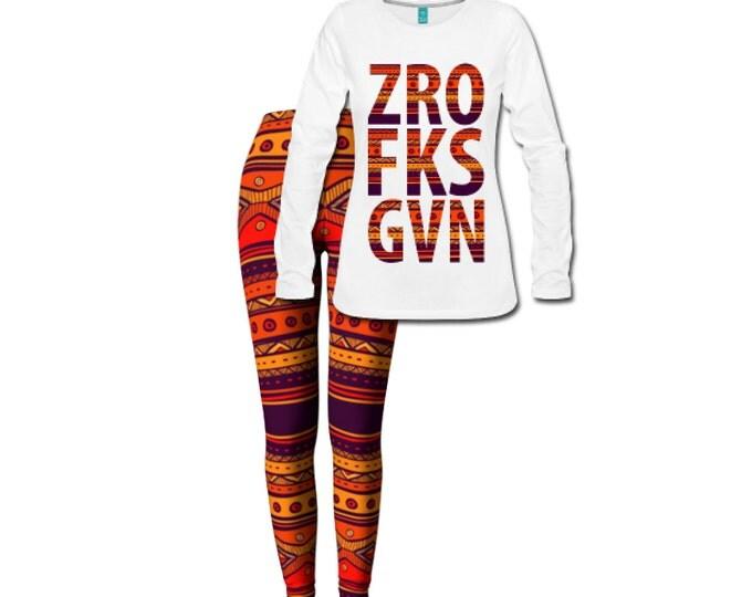 Zero Fucks Given Women's Long Sleeve T-shirt/Leggings Custom Printed Combo Set - White
