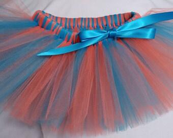 Turquoise and Orange Tutu, orange turquoise tutu, infant tutu, baby tutu, newborn tutu, toddler tutu, girl tutu, birthday tutu, preemie tutu