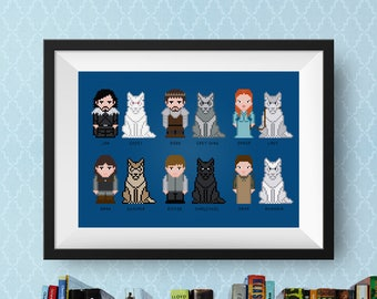 Game of Thrones Cross Stitch Pattern GOT | Cross Stitch Starks and Wolves | Arya Stark, Sansa Stark, Jon Snow, Bran Stark, Ghost, Nymeria