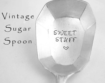 Stamped Sugar Spoon Sweet Stuff Engraved Vintage Silverware Octagonal Bowl Housewarming Gift Condiment Spoon Athena Wallace Silver Plate