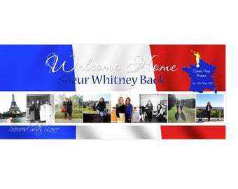 Missionary Welcome Home Banner/Missionary Banner  CUSTOMIZED for your missionary's mission (Flag Style) **DIGITAL FILE