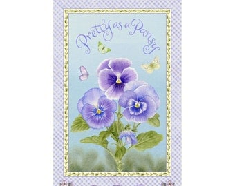Pansy Panel - Lt Blue 1015P-15 by Henry Glass Cotton Fabric Yardage