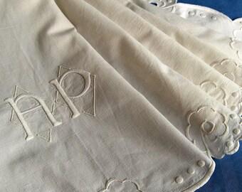 Antique French Linen Metis Sheet Monogram AP Richelieu Embroidery Across Width