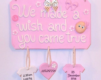 Personalised New Baby Gift Nursery Decor Personalised Wall Plaque Sign
