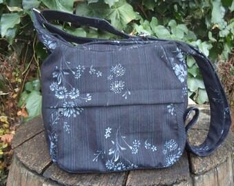 Black floral jeans shoulder bag,zippered bag