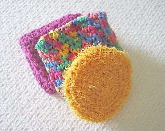 Handmade Dishcloth Set with yellow gold scrubby, Crochet Cotton dishcloths in pink and multi colors,  Bridal shower gift, gift for her